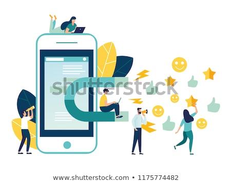 Desenho animado empresário grande ímã ilustração azul Foto stock © robuart