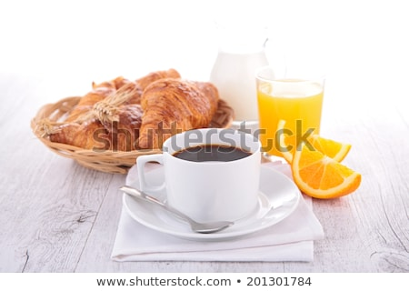 Kahve portakal suyu kruvasan güneşli bahçe tablo Stok fotoğraf © karandaev