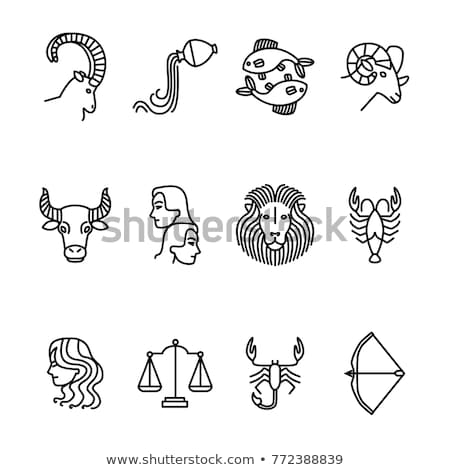 Black Line Art of Capricorn Zodiac Sign Stock photo © cidepix