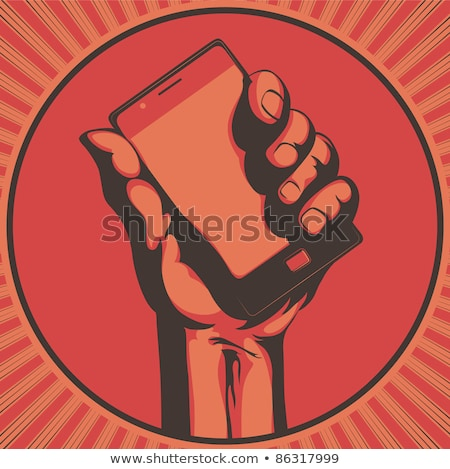 smartphone cellular call technology retro vector stock photo © pikepicture