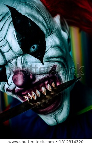 Scary zło clown nóż usta Zdjęcia stock © nito