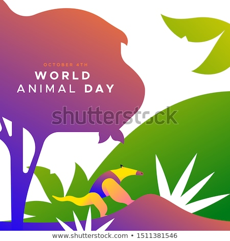 World animal day card of wild jungle anteater Stock photo © cienpies