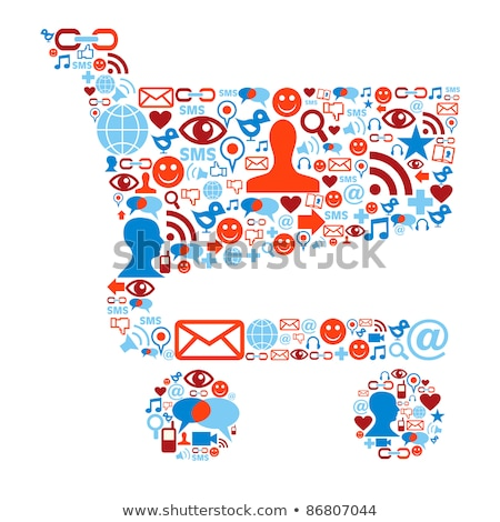 diverse people group in shopping cart shape stock photo © cienpies