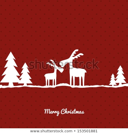 Stock photo: Santa Claus with reindeer and sleigh, gold vector Christmas card