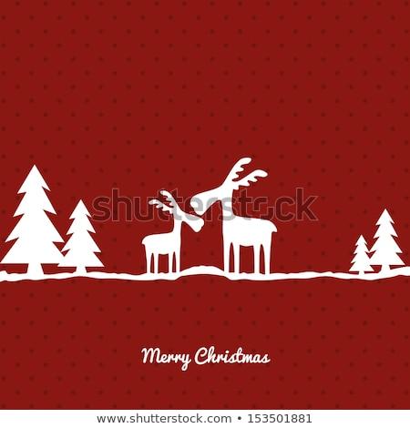 クリスマス · 冬 · 森林 · 鹿 · ツリー · 雪 - ストックフォト © beaubelle