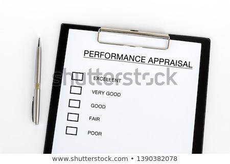 Foto stock: Evaluación · negocios · mano · relleno · cajas