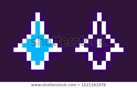 Pixelated Spaceship, Neon Rocket, Game Vector Stock photo © robuart