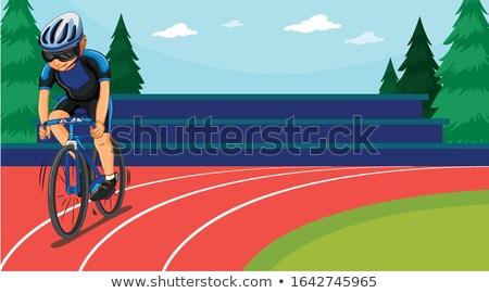 Jelenet kerékpáros lovaglás mező illusztráció lány Stock fotó © bluering