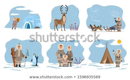 Eskimos Families and Characters with Animals Set Stock photo © robuart
