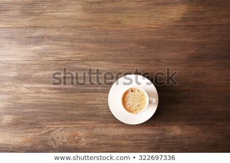 Кубок горячей капучино кофе деревянный стол Сток-фото © Anneleven