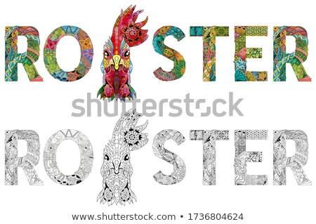 слово петух птица голову вектора объект Сток-фото © Natalia_1947