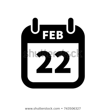 Simple black calendar icon with 22 february date isolated on white Stock photo © evgeny89