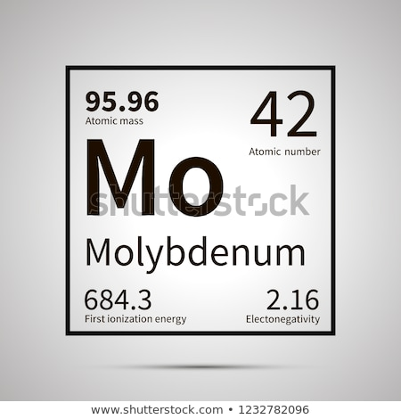 Molybdenum chemical element with first ionization energy, atomic mass and electronegativity values , Stock photo © evgeny89
