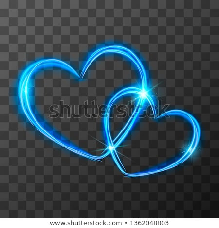 Bright blue light traces in two crossed hearts shape with magic light and sparkles, love concept on  Stock photo © evgeny89