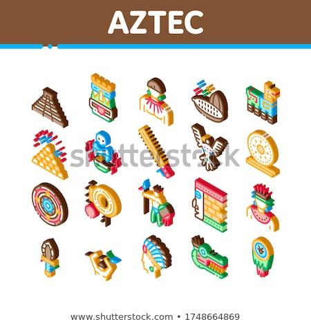 Aztec Civilization Isometric Icons Set Vector Stock photo © pikepicture