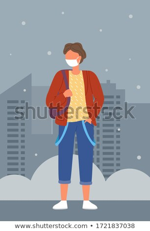 Mulher jovem médico máscara mochila proteção viral Foto stock © robuart