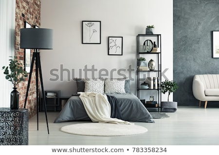 Yatak odası zemin dekore edilmiş duvar dizayn ev Stok fotoğraf © jordygraph