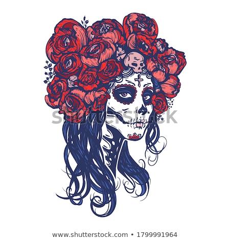 raio · crânio · menina · mulher · flor - foto stock © elisanth