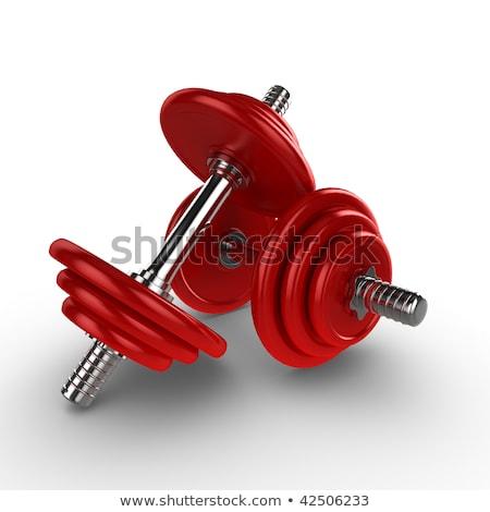 Rood · gewichtheffen · gewichten · 3d · render · geïsoleerd · witte - stockfoto © Giashpee
