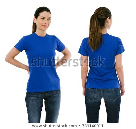 Szépség fiatal nő kék póló fiatal izzadt Stock fotó © Paha_L