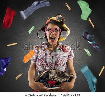 housewife is busy homework stock photo © imaster