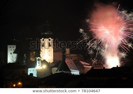 town hall and Old Castle at night, Banska Stiavnica, Slovakia Stock photo © phbcz