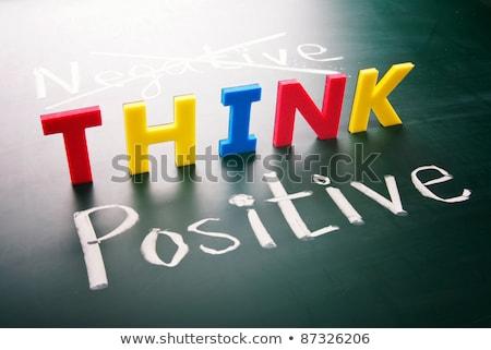 gondolkodik · pozitív · nem · negatív · színes · szavak - stock fotó © ansonstock