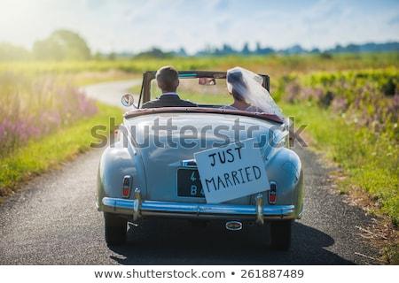 Wedding plate behind rear windscreen of an oldtimer