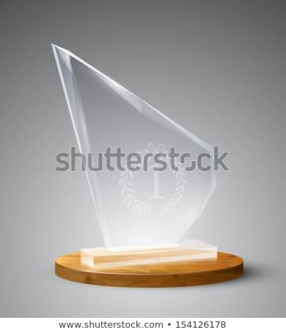 Első hely díj üveg trófea fekete tükröződő Stock fotó © feedough