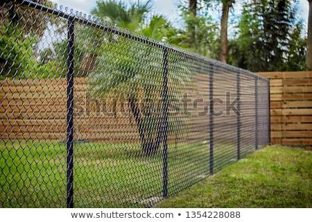 açık · zincir · bağlantı · çit · gökyüzü · Metal - stok fotoğraf © bobkeenan