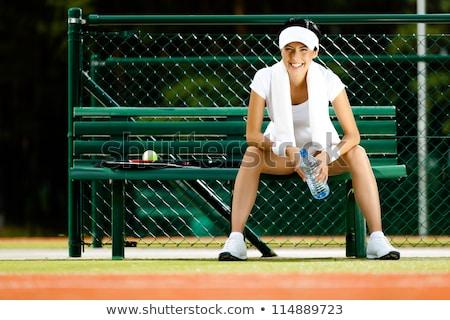 mannelijke · tennisspeler · opleiding · knap · tennisracket - stockfoto © photography33