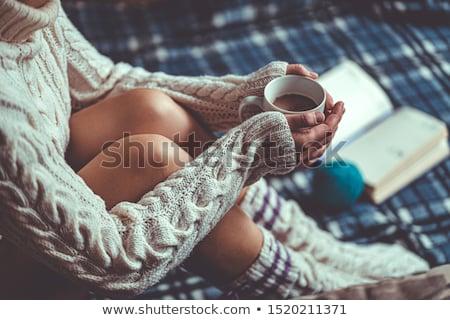 Sıcak çorap yün yalıtılmış beyaz doğal Stok fotoğraf © Stocksnapper