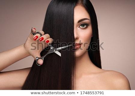 vrouw · haren · schaar · blonde · vrouw · witte - stockfoto © dmitri_gromov