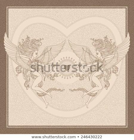 Groet engel oude frame wenskaart geschenk Stockfoto © marimorena