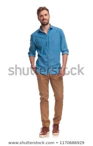 Stock fotó: Férfi · egészalakos · fiatal · lezser · fehér · mosoly