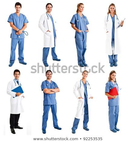 portret · uśmiechnięty · kobiet · lekarza · biały - zdjęcia stock © stockyimages