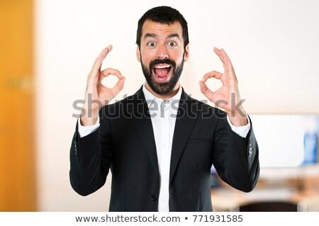 бизнесмен · вызывать · знак · человека · корпоративного - Сток-фото © photography33