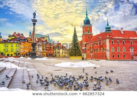Oude binnenstad vierkante winter Warschau Polen kleurrijk Stockfoto © neirfy