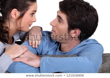 Couple contact avec les yeux dents mariage outil Photo stock © photography33