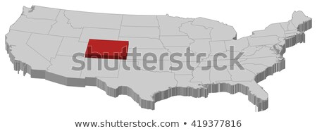 Colorado Red Abstract 3D State Map United States America Stock photo © iqoncept