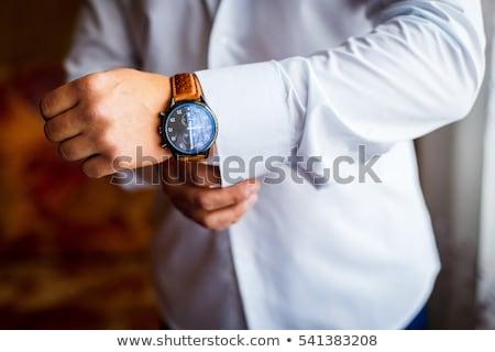 Férfi visel karóra kéz férfi divat Stock fotó © photography33