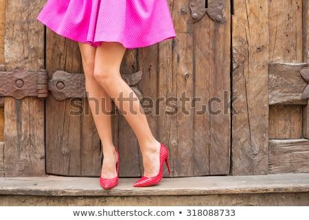 Elegante mujer hermosa minifalda largo morena pelo Foto stock © dash