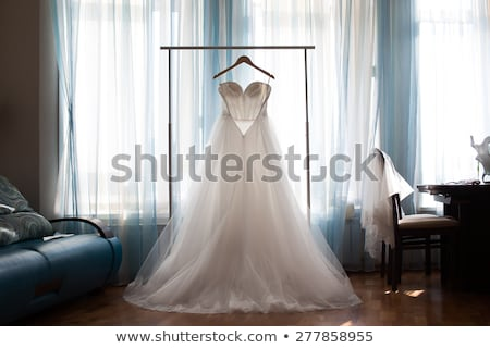 Photo stock: Collection Of Wedding Dresses In The Shop In Black And White