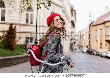 portrait · souriant · fille · lumineuses · écharpe · ensoleillée - photo stock © juniart