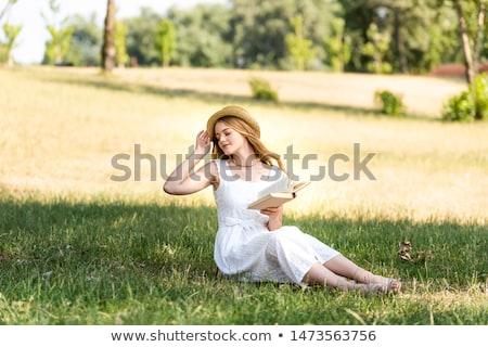 Boek strohoed gras Open boek natuur groene Stockfoto © pab_map