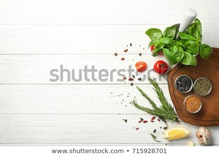 Ervas mesa de madeira folha planta branco cozinhar Foto stock © Kesu