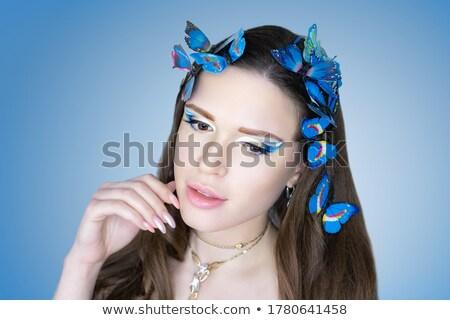 Imagination. Young Fashion Model with Bright Colorful Makeup. Glamor Stock photo © gromovataya