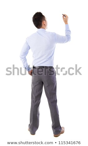back view full body business man writing stock photo © szefei
