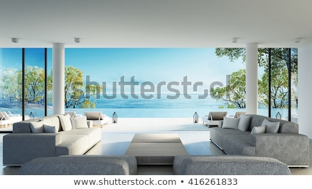 Maison de plage rendu 3d tropicales bungalow palmiers incroyable Photo stock © Elenarts