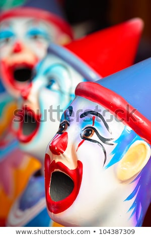 Side show carnival clowns with mouths open ready for play Stock photo © lovleah